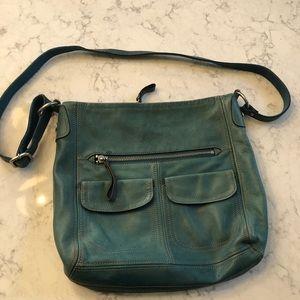 FOSSIL Blue Leather Purse Bag Crossbody?